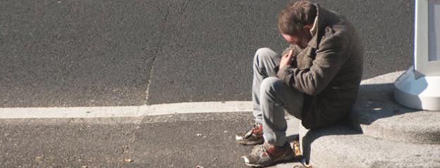 homeless in tears